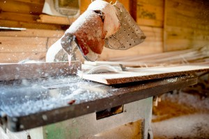 wood sawing and cutting at local industrial wood factory